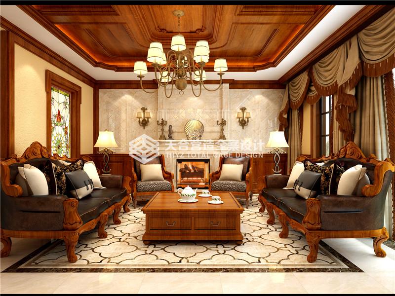 武汉装修 美式效果图 泛海国际 客厅图片来自武汉天合营造设计在泛海国际樱海园190平美式风的分享