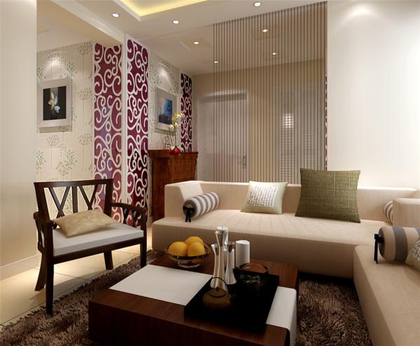 客厅是最能体现风格特点的地方,现代时尚的布衣沙发与中式的实木椅形成和谐的搭配,咖啡色的电视背景木纹屏风,体现中式圆满的意念,加上与之呼应的线帘和雕花玻璃,将两种完全不同的风格混搭成别一番滋味。