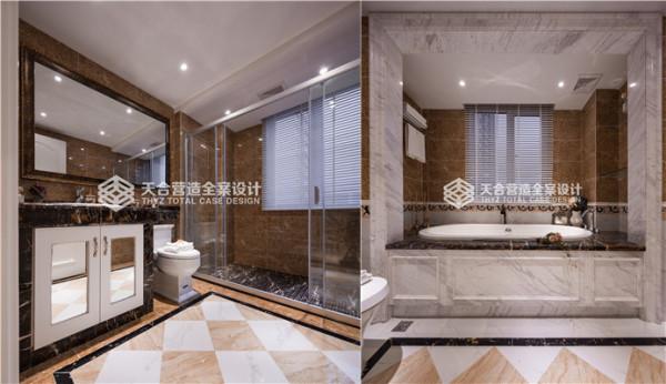 卫生间划分了干湿分区,嵌入式的浴盆简洁大方,其中浴室柜上方选择了大面的镜子,整个视觉空间感出来了,不会觉得狭小和拥挤,地砖选择的也是大气的几何纹,与空间墙壁色彩相呼应。