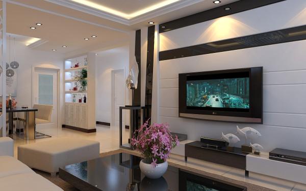 """设计师通过前卫时尚的设计元素营造客厅的""""亮点""""空间,旁边放置主人心爱的艺术品,点缀客厅,体现主人的高雅气质。"""