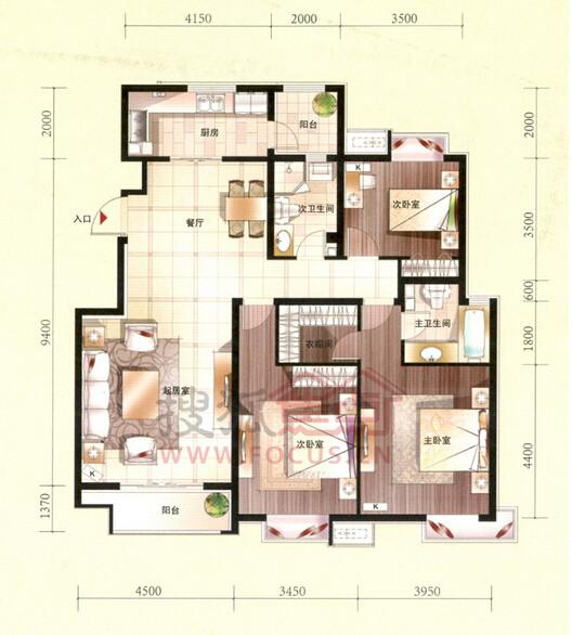 D1户型 三室两厅两卫