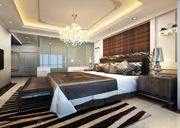 奢华浪漫主卧 亮点:卧室颜色偏于深咖,有助于主人睡眠质量。以白色墙板加深色软包装饰墙面,既不单调,也使空间更具温馨舒适的质感。