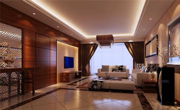 户型整体格局很好,没有做大的改动。客厅顶面按传统式的灯带处理,电视背景及玄关造型均采用木制板制作,简单的线条来处理,客厅墙面全部设计为壁纸。