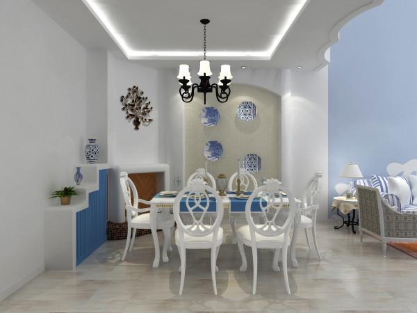 美好的用餐时光设计理念:餐厅是家居生活的心脏,不仅要美观而且要很实用。欧式的餐桌椅以及欧式的装扮还有淡蓝色的点缀使空间层次分明。