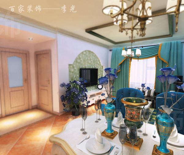 本案例定位为地中海风格,刚一进门,客厅蓝色的背景墙、拱形设计,有一种蓝天白云的感觉。家具风格选择也与空间格调相当融合,富有异域风情。