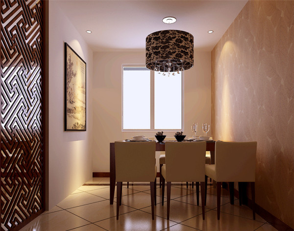 地面设计成大的波道线拼花设计,和顶面向呼应。卧室顶面石膏吊顶,背景采用木格加软包,配上中色性的地板颜色,使整个卧室体现出原生态的感觉。