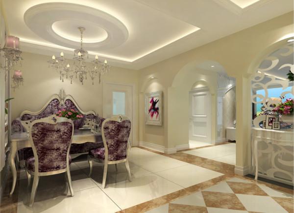 餐桌上方的吊灯精致华丽,顶部造型别出心裁的做成圆环形,紫色的新古典家具浪漫奢华,打造舒适的用餐环境。