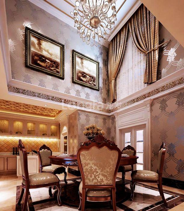 欧式 别墅 龙湖盛景 龙发装饰 装修设计 餐厅图片来自龙发装饰集团西安分公司在龙湖盛景380欧式舒适的浪漫情调的分享
