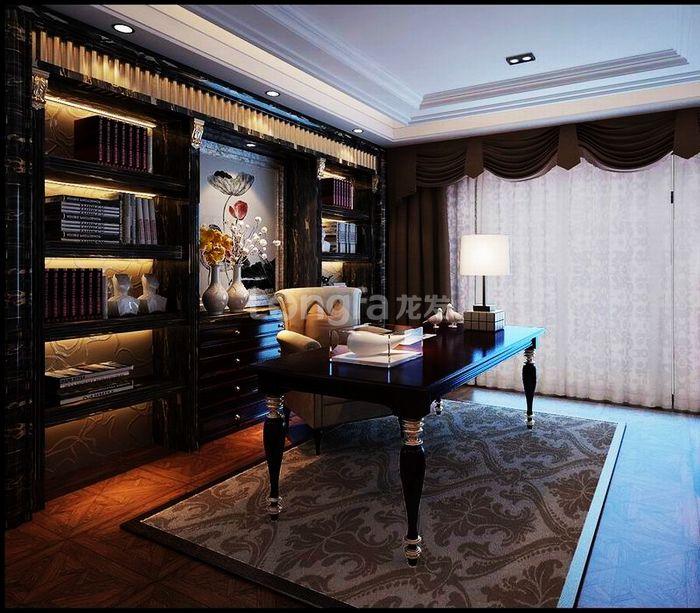 欧式 别墅 龙湖盛景 龙发装饰 装修设计 书房图片来自龙发装饰集团西安分公司在龙湖盛景380欧式舒适的浪漫情调的分享