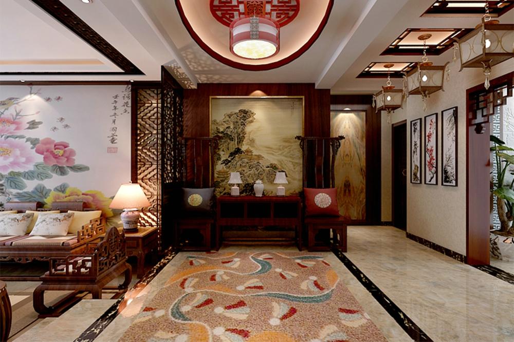 中式 效果图 玄关图片来自石家庄业之峰装饰虎子在国赫 澜山 200平米新中式风格的分享