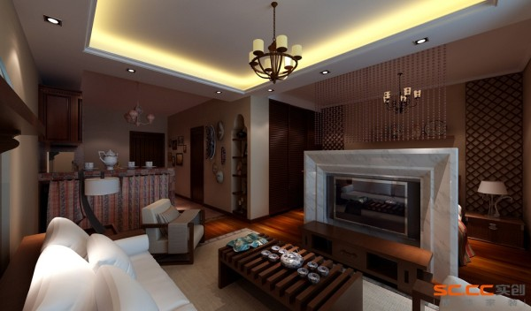 在家具配置上,本案选用了厚实大气的华源轩-黄金柚系列家具,线条简洁凝练,祥瑞的花纹、简洁的设计,值得细细品味。在配饰上,艳丽华贵的色彩、别具一格的东南亚元素,使居室散发着淡淡的温馨与悠悠禅韵。