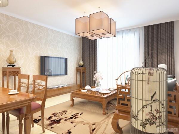本案为大津城3室2厅1厨1卫132.0㎡的户型。这次的设计风格定义为新中式风格。
