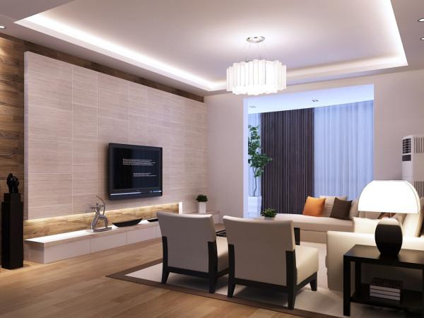 该户型的设计风格为现代简约风格。整个空间以暖色调为主,主要以浅咖色为主,暖色的光源给空间营造了温馨舒适的感觉。