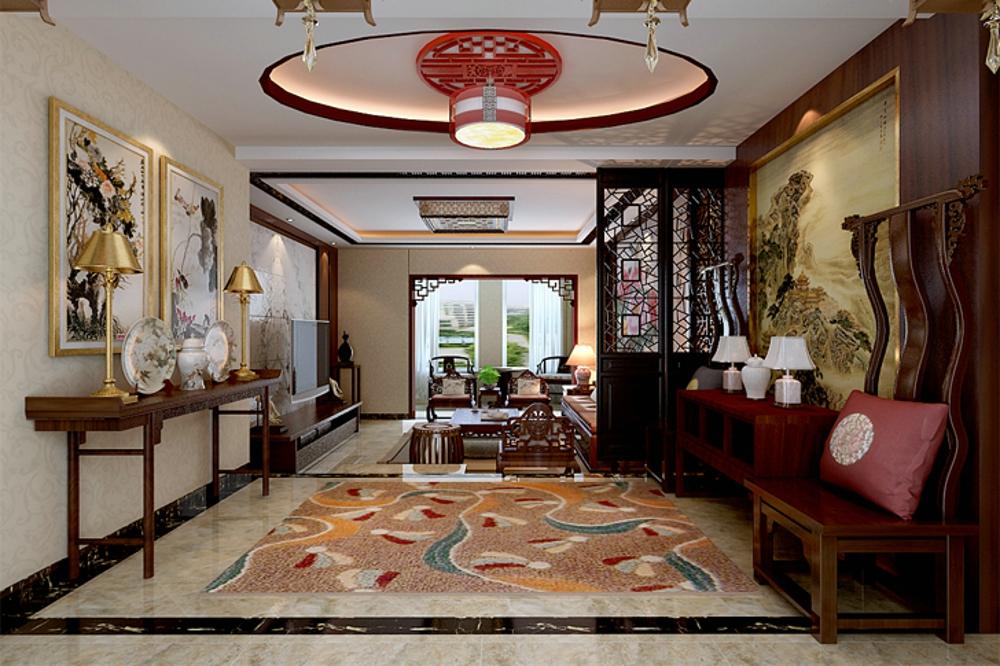 中式 效果图 客厅图片来自石家庄业之峰装饰虎子在国赫 澜山 200平米新中式风格的分享