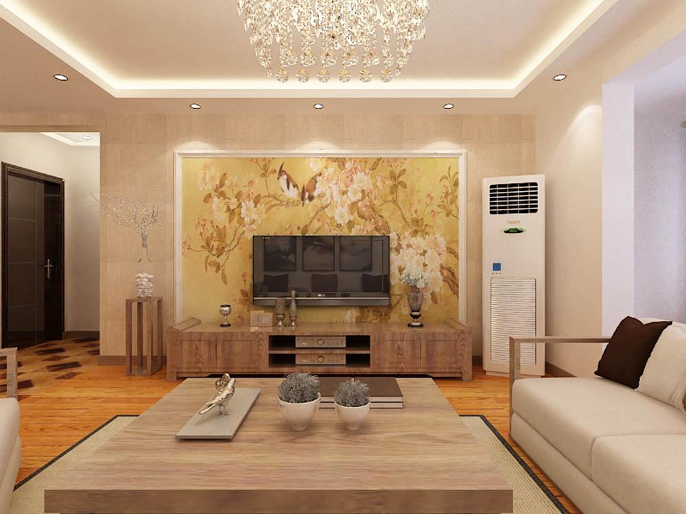 客厅图片来自阳光放扉er在泰达风景-148平米-新中式风格的分享