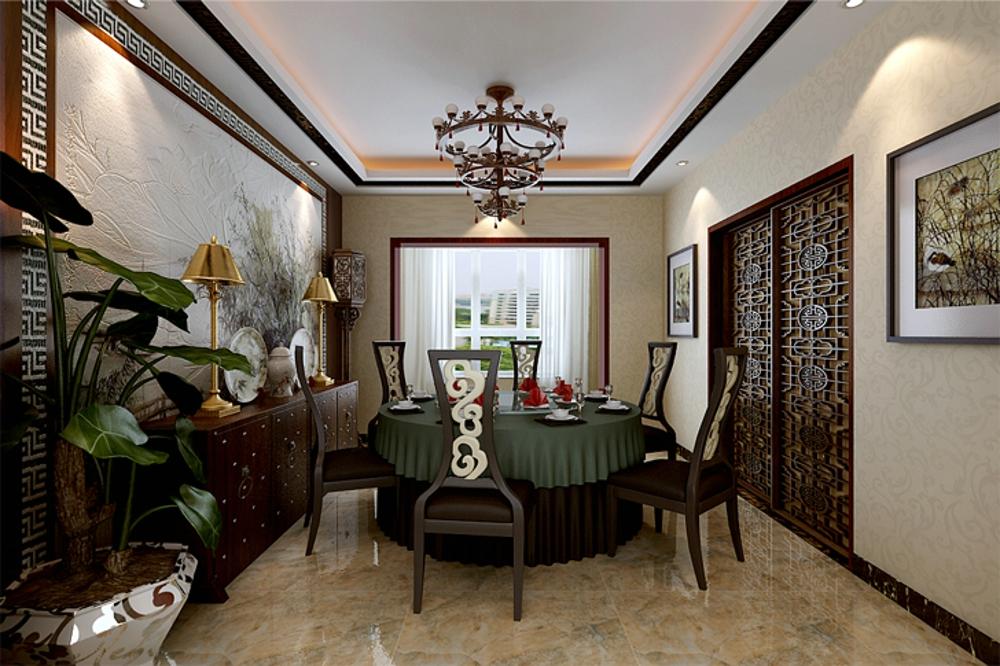 中式 效果图 餐厅图片来自石家庄业之峰装饰虎子在国赫 澜山 200平米新中式风格的分享