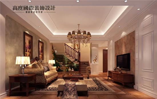 美式风格设计的客厅,充分利用空间