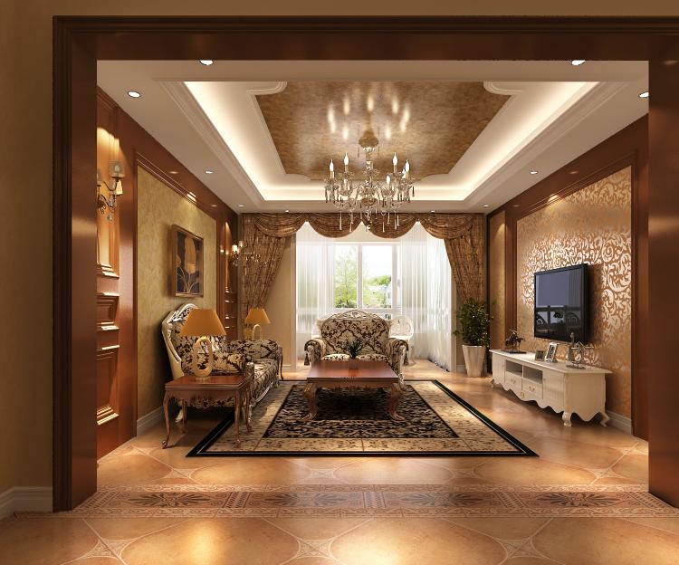 欧式 简约 三居 旧房改造 小资 客厅图片来自高度国际装饰王伟在金色漫香苑140平米简欧的分享