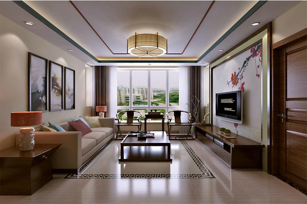 三居 简约 中式 客厅图片来自石家庄业之峰装饰虎子在国赫红珊湾 119平米新中式风格的分享