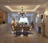 餐桌居中,运用一边壁炉装饰,一边运用酒柜装饰,让餐桌和整个空间浑然一体,美观大方又得体!从餐桌的布置上体现风格的元素!