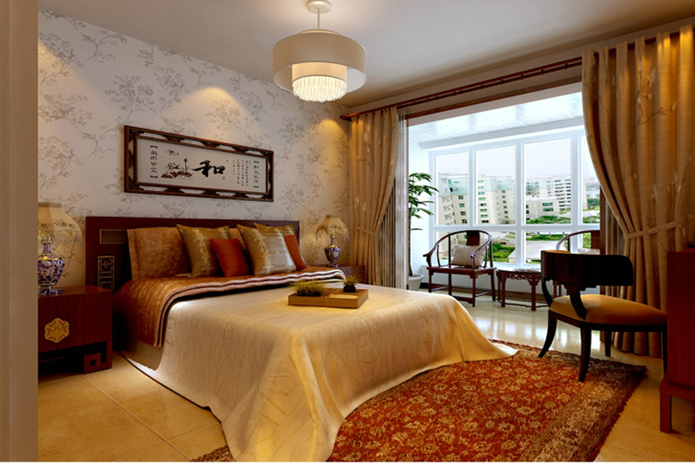 三居 简约 中式 卧室图片来自石家庄业之峰装饰虎子在国赫红珊湾 119平米新中式风格的分享
