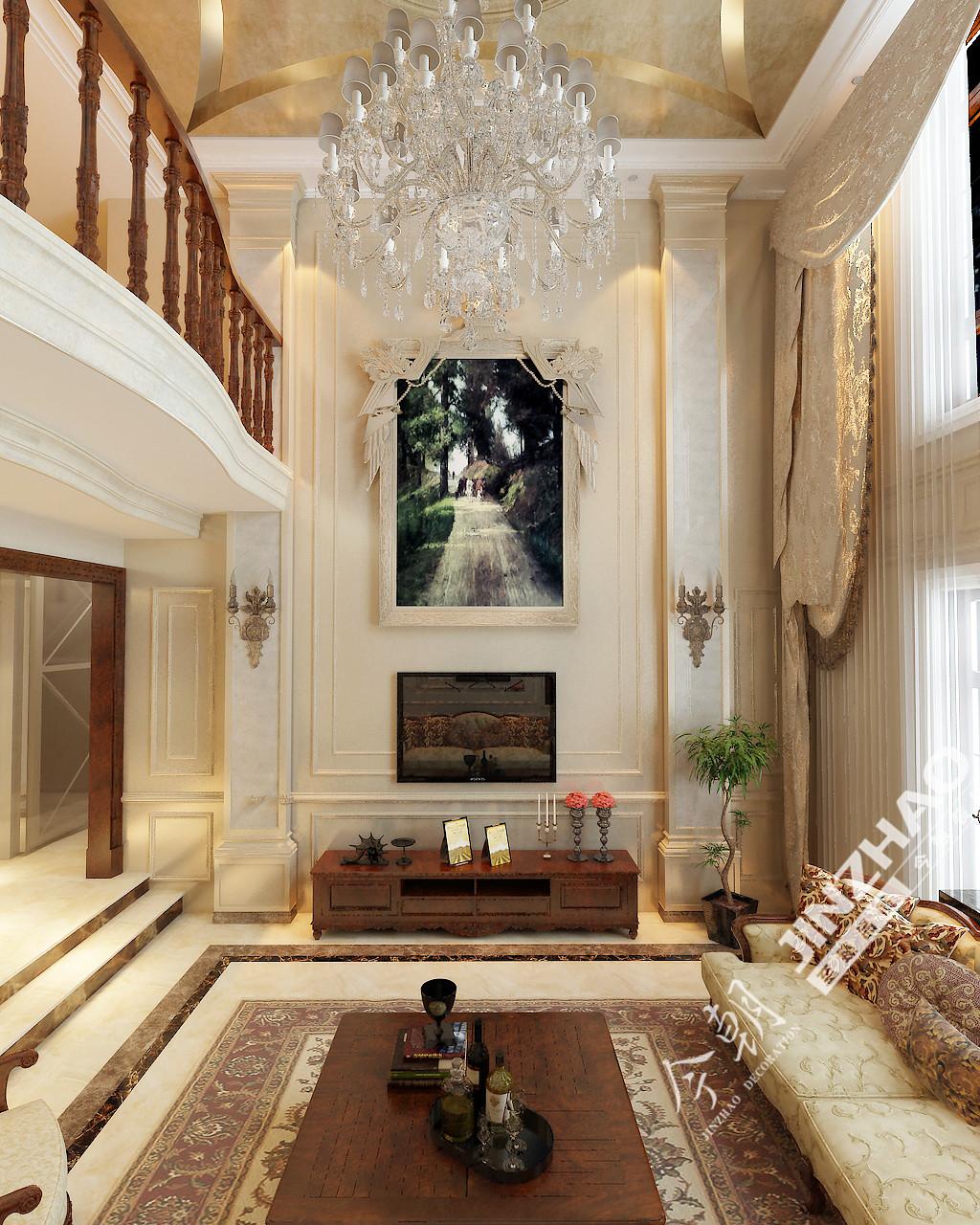 今朝装饰 原河名墅 奢华欧式 别墅 客厅图片来自石家庄今朝装饰在原河名墅450平欧式风格的分享