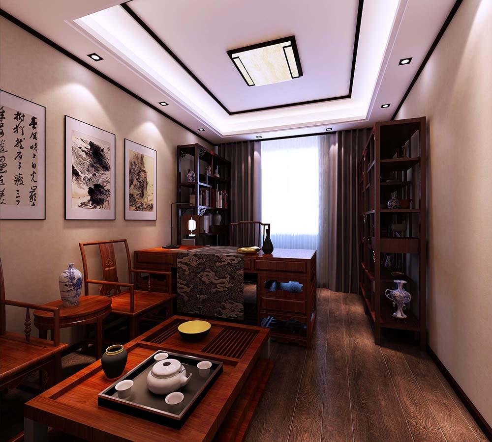 联合易墅 金地紫云庭 四居室 新中式风格 书房图片来自天津联合易墅装饰在金地紫云庭四口之家新中式风格的分享