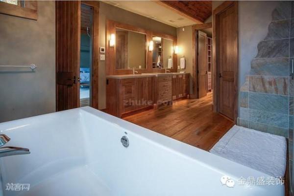 卫生间的设计仍以木质为主要材料,让人感觉更加的温暖和舒适。