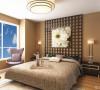 卧室是方格立面铺满背景,上面运用装饰手法提亮空间品味。配上咖啡色乳胶漆,烘托成熟氛围。