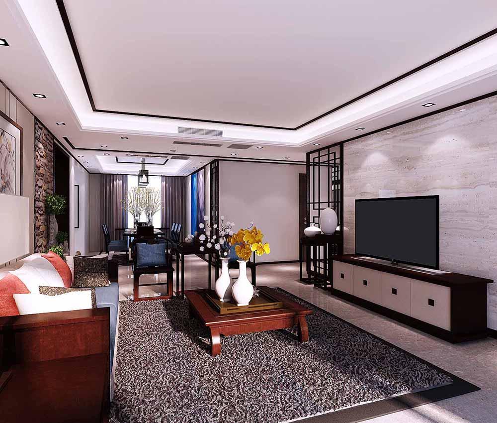 联合易墅 金地紫云庭 四居室 新中式风格 客厅图片来自天津联合易墅装饰在金地紫云庭四口之家新中式风格的分享