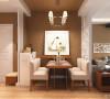 墙面运用隔板加装饰画的方式去装饰,使人在在空间得到精神和身体的放松,并紧跟着时尚的步伐。