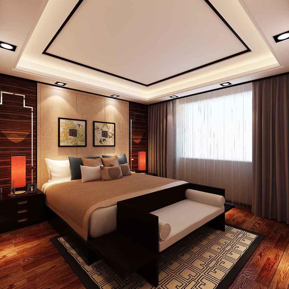 联合易墅 金地紫云庭 四居室 新中式风格 卧室图片来自天津联合易墅装饰在金地紫云庭四口之家新中式风格的分享