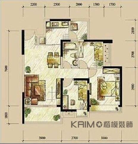 现代 简约 三室二厅 豪华 不奢华 户型图图片来自1043284585x在龙湖三千里的分享