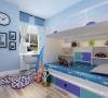 次卧室做了儿童房的处理,以蓝色调贯穿