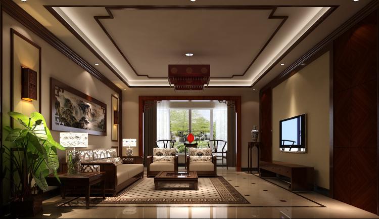 中式 旭辉御府 复式 装修 高度 完工 效果 客厅图片来自高度国际装饰王伟在旭辉御府新中式风格的分享
