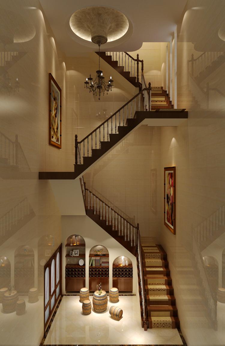 中式 旭辉御府 复式 装修 高度 完工 效果 楼梯图片来自高度国际装饰王伟在旭辉御府新中式风格的分享