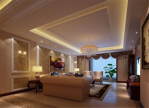 客厅的设计和餐厅融为一体,淡色的地砖和壁纸竟是如此和谐搭配 ,家具整体色系的风格,也是如此让人喜爱。浅色的布艺沙发敦敦实实地坐落在客厅的中央。而背景墙的设计简单时尚。