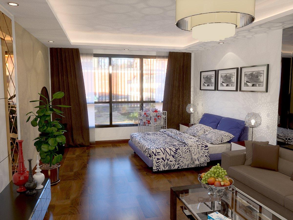 欧式 卧室图片来自鱼在轻舟在华贸城-32平-现代简欧风格的分享