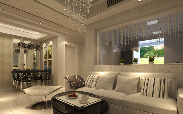客厅和厨房之间打通,既节省了空间又加强了整个空间的采光,中间仅用珠帘隔断,时尚有特色。