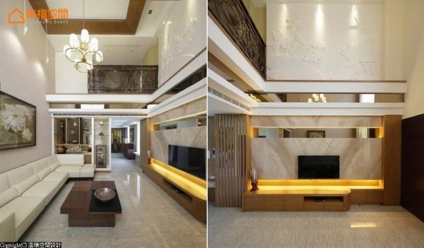 挑高的空间中,材质的丰富层次于人文线条中创造精品质地,以带状的镜面修饰楼板的沉重感,而立面留白处以「莲」为主题,刻划浮雕感的立面变化。