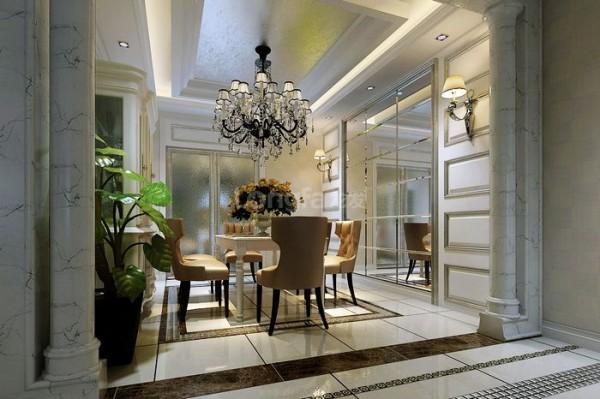 餐厅配以6人餐桌,旁边配制了餐边柜,方便主人拿取餐具不比去较远的厨房,而且也增大了厨房餐厅的储物需求,在装饰上,餐厅过道客厅,相互影响,相互互动,简练的欧式元素运用