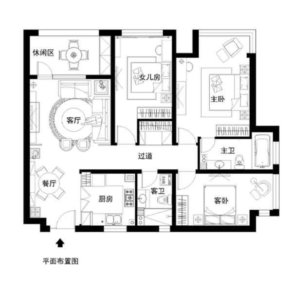 K2清水湾120平中式古典风格案例户型图