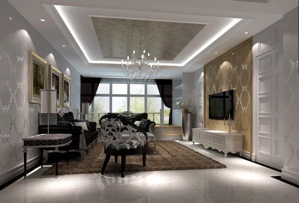客厅大面积的玻璃窗带来了良好的采光,落地的窗帘很是气派