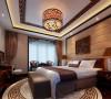 多元化的中式元素,整体和谐的色彩搭配设计理念:主卧空间是主人休息,放松的主要私密空间,在舒适,温馨为前提下,要更好的通过各种元素突显出主人的独特韵味与对生活的感受。