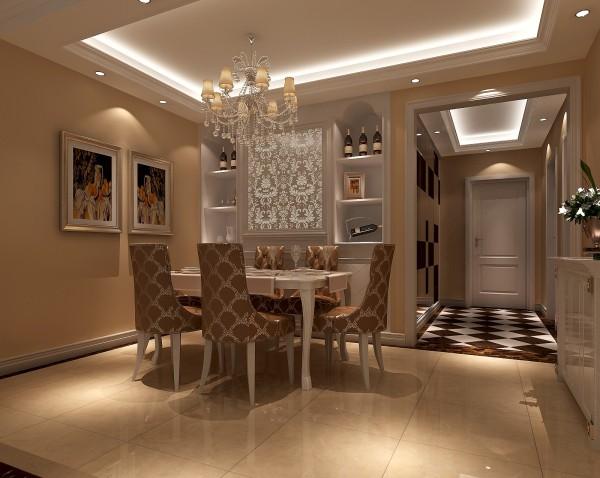 餐厅位置采用米黄色墙漆,餐边柜白色混油饰面,巧妙的镶嵌入墙使整体餐厅空间得以节约,并满足了业主的藏酒爱好和餐厅的储物功能。