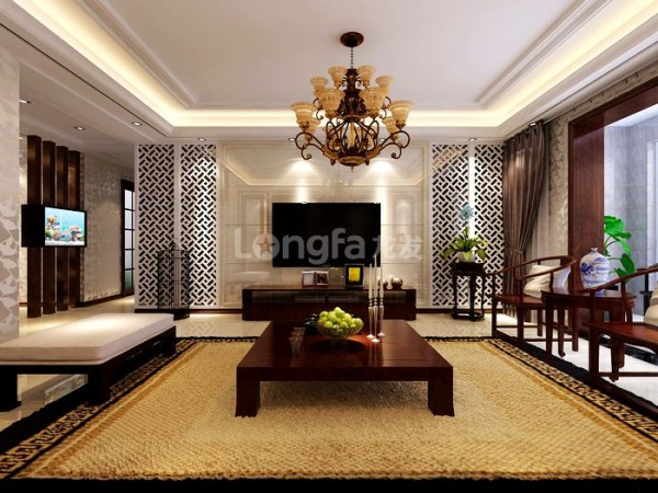 客厅是传统与现代居室风格的碰撞,设计师以现代的装饰手法和家具,结合古典中式的装饰元素,来呈现亦古亦今的空间氛围。中式风格的古色古香与现代风格的简单素雅自然衔接。