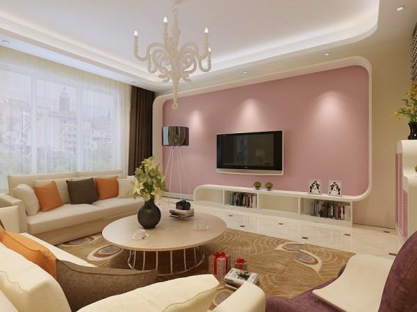 面对客厅抢先入境的是个性不规则的电视背景墙和电视柜,整个背景墙用红色的硅藻泥作为整个框架的装饰,环保又美观。圆形的茶几,更多了一份松散与舒适。