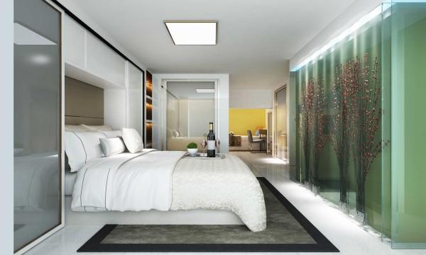 大大提升主人的品味,不乏单调,二楼层高交底,所以家具整体采用白色调,配上镜面柜门,起到了提升亮度并延伸空间的效果。主梁采用软包处理,既达到了美观的效果,又降低了危险性。