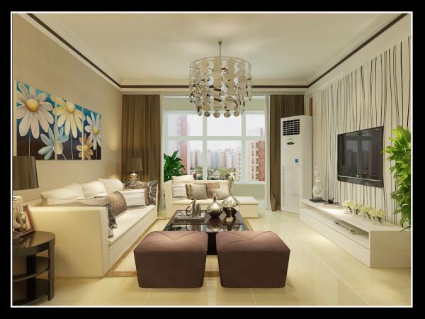 图4.从这个角度看,可以看到整个客厅的布局,简简单单的暖色调的沙发背景墙和电视背景墙形成对比,看似不和谐却又是彼此不可或缺,白色的沙发和暖色调的抱枕交相呼应,整体的现代气息表露无遗。
