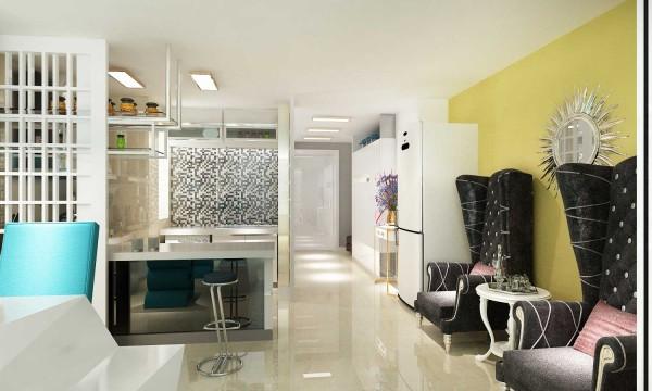 厨房采取开放式,需要做饭时也可以把移门合上,又称为一个封闭的空间,一举两得。客户喜欢的吧台,配上黑白马赛克,时尚大气,让厨房称为一处两点,同事黑白色的马赛克又与楼梯相呼应。